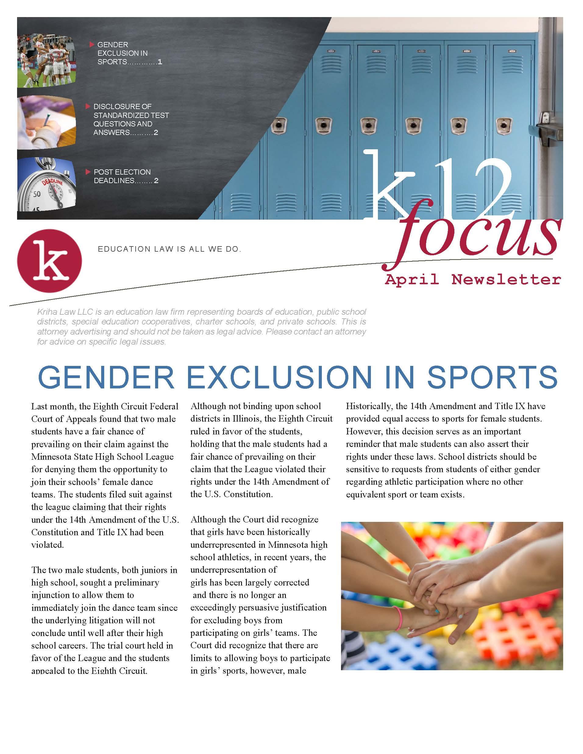 K12 Focus- April Newsletter - Kriha Boucek